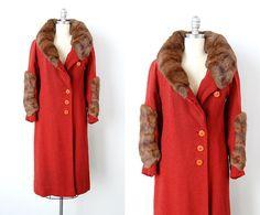 vintage 1920s coat / 1920s wool coat / 20s fur by cutxpaste