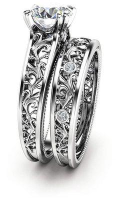 Etsy Unique Diamond Engagement Rings 14K White Gold Forever Brilliant Moissanite Ring Filigree Engagement