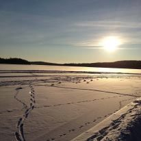 The lake of Nora, Sweden, covered with ice, snow and sunbeams.