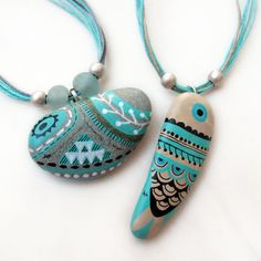 handpainted seastone / turquoise fish necklace by zeustones