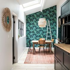 papier peint tropical salle a manger