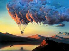 Surreal art, hot air balloon, painting, Vladimir Kush - Hot Air Balloon Powered by the Clouds