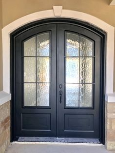 Custom eyebrow arched classic door with flemish glass. Arched Front Door, Double Front Entry Doors, Iron Front Door, Wooden Front Doors, Front Door Entrance, Arched Doors, Glass Front Door, Iron Doors, Transitional Front Doors