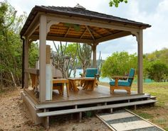 Outdoor, Cool patio gazebo canopy wooden frame vented double roof wooden deck wooden outdoor chair turquoise seating cushion lake view backyard design: Stylish Gazebo Canopy