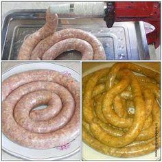 Cum se fac carnatii de casa Onion Rings, Hamburger, Sausage, Meat, Ethnic Recipes, Food, Home, Hamburgers, Sausages