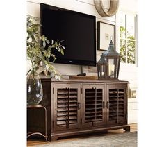RH's Shutter Media Console:Angled louvers, an architectural detail ...