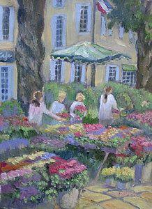Flower Market Painting - Marche Des Fleurs by Linda  Wissler