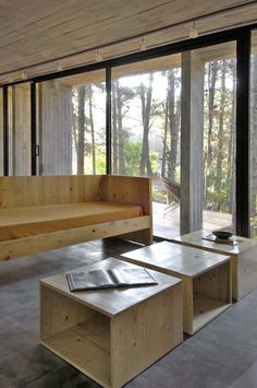 Sleek concrete dwelling in the woods
