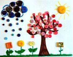 Spring Scene Button Art is an incredibly easy craft for kids to enjoy. The result is adorable, and it costs nothing! you will love this amazing button art Button Art Projects, Button Crafts For Kids, Spring Crafts For Kids, Easy Crafts For Kids, Craft Activities For Kids, Summer Crafts, Toddler Crafts, Fun Crafts, Art For Kids