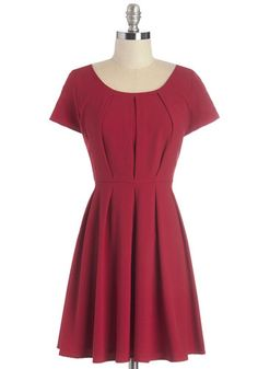 Anticipating the Evening Dress. Though you still have an hour until your sweetie arrives, you cant wait any longer and just have to zip into this red dress! #red #modcloth