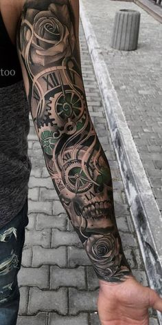 Tätowierungen Tattoos And Body Art mens body tattoos Best Sleeve Tattoos, Full Sleeve Tattoos, Tattoo Sleeve Designs, Tattoo Designs Men, Clock Tattoo Sleeve, Men Tattoo Sleeves, Sleeve Tattoo For Guys, Arm Sleeve Tattoos For Women, Mens Body Tattoos