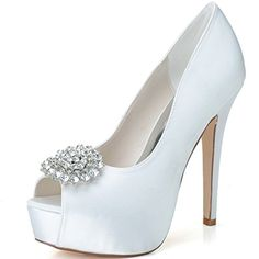 Clearbridal Women s Red Satin Wedding Bridal Shoes Open Peep Toe High Heel  for Evening Prom Party with Rhinestone Crystal ZXF3128-20A UK3 44d620cbec26
