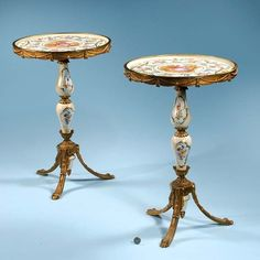 297: Pair of brass mounted circular porcelain tables wi : Lot 297