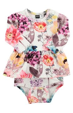 Infant Girl's molo 'Frances' Floral Print Skirted Bodysuit