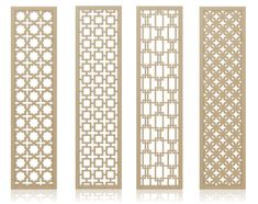 Idea for pantry door or wall on side of pantry, also perhaps entryway or dining room. Redi Screens Decorative Wood Dividers (So many possible applications such as room partitions,headboard,hanging or mounted screens) Decorative Screen Panels, Sliding Room Dividers, Divider Screen, Wooden Screen, Door Design, Mid-century Modern, Modern Living, Modern Homes, Metal Walls