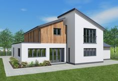 This design incorporates many of the popular elements of modern day architecture; white render with cedar cladding, grey window frames and an open plan kitchen layout. With four double bedrooms, this home is well suited to the contemporary family. Wood Cladding Exterior, Cedar Cladding, House Cladding, Grey Window Frames, Grey Windows, House Extension Design, Extension Ideas, Rendered Houses, Timber Frame Homes