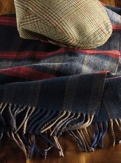 Cashmere and Wool Scarf in Navy and Red Plaid shown with Garforth Cap in Tan, Olive, Red, and Blue Plaid