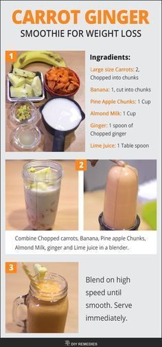 Carrot Ginger Smoothie for Weight Loss - Smoothies - Breakfast Smoothie Weight Loss Drinks, Weight Loss Smoothies, Healthy Smoothies, Healthy Drinks, Simple Smoothies, Diet Drinks, Healthy Dinners, Healthy Food, Detox Your Liver