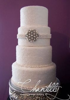 Chantilly - El-Paso-area Cakes - Four-tier wedding cake with pearl details