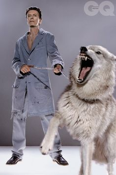 David Bowie with wolves, October, 2002 by Markus Klinko for British GQ