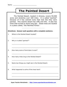 Printables Reading Comprehension Worksheets For 4th Grade reading comprehension worksheets third grade galileo science for 4th 3 name the painted desert