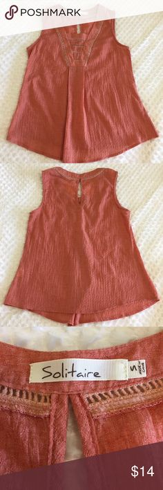 """Solitaire Tank Peach Orange Crochet Detail Sz S Soft, peachy orange tank with crochet Detail around neckline. Keyhole opening in back. Loose and flowy around midsection. Excellent preowned condition, no stains or flaws. Chest 17"""", length  24"""" Solitaire Tops Tank Tops"""