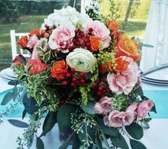 Rustic wedding, centerpiece, garden style, wedding flowers Chicago