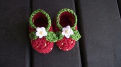 "Strawberry Booties – A free pattern to crochet | ""Without love, deeds, even the most brilliant, count as nothing."""