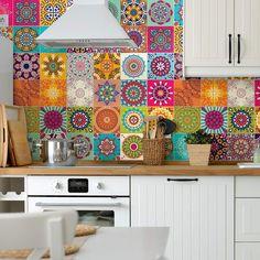 Tile Stickers Kitchen, Kitchen Tiles, Kitchen Colors, Kitchen Decor, Kitchen Cabinets, Ambiance Sticker, Diy Home Decor, Room Decor, Kitchen Furniture