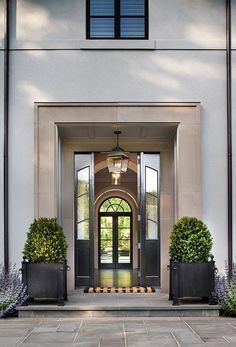 Modern French Home Front Door. Modern French Home with steel Front Door. #ModernFrenchHome #FrontDoor #SteelDoor Nahra Design Group