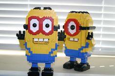 Two minion friends having fun. Lego Minion, Minion Party, My Minion, Legos, Lego Sculptures, Lego Club, Toys For Tots, Lego Worlds, Lego Projects