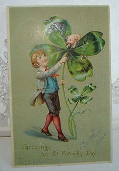 VINTAGE EMBOSSED GREETING ON ST.PATRICK'S DAY POSTCARD