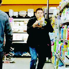 Dean shopping for baby supplies (gif) I think this perfectly describes most new dads