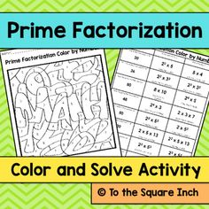 Prime Factorization Color and Solve Activity Included in this product: Solve and Color Picture with 8 questions involving finding the prime factorization of composite numbers. Homeschool Worksheets, Math Resources, Math Activities, Sieve Of Eratosthenes, Junior High Math, Prime And Composite Numbers, Prime Factorization, Teaching Math, Maths