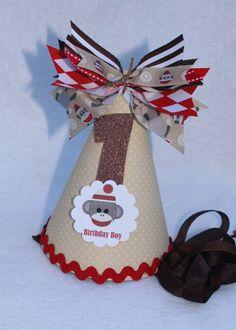 Sock Monkey birthday party hat