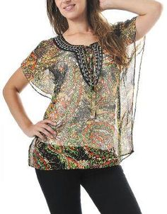 (CLICK IMAGE TWICE FOR DETAILS AND PRICING) It Must Be Love Blouse Iguana. Break away from traditional fashion and embrace an ethnically inspired top that features inspiring patterns,  a beaded neckline and butterfly sleeves.. See More Tops at http://www.ourgreatshop.com/Tops-C74.aspx