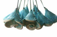 NEW trumpet flower bell turquoise von AlmaPottery auf Etsy