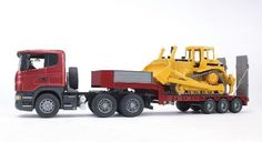 This is every boy's dream - two awesome play vehicles in one Scania Low Loader & Cat Bulldozer Set from Bruder Profi truck series. Manufactured by Bruder. Cat Bulldozer, Caterpillar Bulldozer, Caterpillar Toys, Insurance Comparison, Cat Insurance, Trailer Insurance, Play Vehicles, Backhoe Loader, Shopping