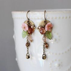 Earrings Handmade Brass Disc Coral Flower Green Leaf Multi Color by YuniDesigns - Beaded Earrings, Earrings Handmade, Beaded Jewelry, Earrings Online, Red Earrings, Glass Jewelry, Fine Jewelry, Jewelry Making, Cluster