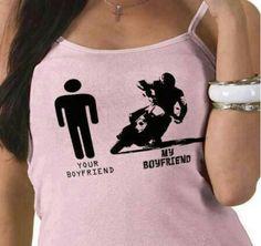Hahaha its a dirt bike but watevs Motocross Couple, Biker Couple, Motorcycle Couple, Motorcross Bike, Motorbike Girl, Motorcycle Memes, Motorcycle Bike, Biker Chick, Biker Girl