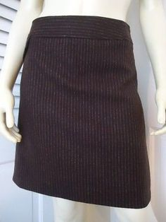 BANANA REPUBLIC Sz 6 Skirt Mini Stretch Wool Brown Pinstripe Lined Faux Pocket