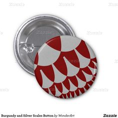 Burgundy and Silver Scales Button $2.20