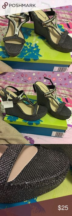 wedges heels black silver black grayish silver metalic colored wedges with straps. montego bay club Shoes Wedges