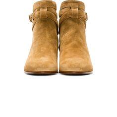 Saint Laurent Tan Suede Buckled Blake Boots