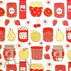 Lovely and 'Nhammy' jam and fruit pattern by Ashley Wilde {via AH Naylor Textiles - Fabrics Northampton}