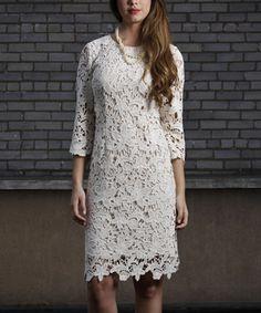 Beige Quintessential Lace Sleeve Dress - Women & Plus