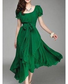 сократить шеи Falbala шифона платье