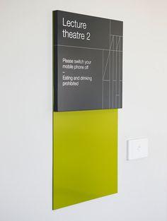 Monash University Pharma Signage by Hofstede design Signage Display, Signage Design, Environmental Graphic Design, Environmental Graphics, Wayfinding Signs, Office Signage, Sign Board Design, Sign System, Displays