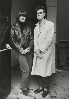 Morrissey (The Smiths) & Sandie Shaw posing together. Circa 1984