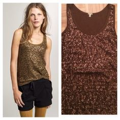 HP! J crew Drapey sequin tank top Host pick at the rule braking fashion party 12/3!! Shiny and spectacular Olive moss color. Worn twice, no defects. Great for a party! J. Crew Tops Tank Tops
